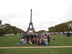 Group photo in front of Eiffel Tower